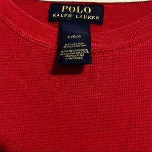 Polo by Ralph Lauren Shirts - Red Polo Long Sleeve Shirt